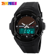 SKMEI Solar Energy Men's Wristwatches Solar Power LED Digital Quartz Waterproof Sport Watches Outdoor Men Boy's Military Watch(China (Mainland))