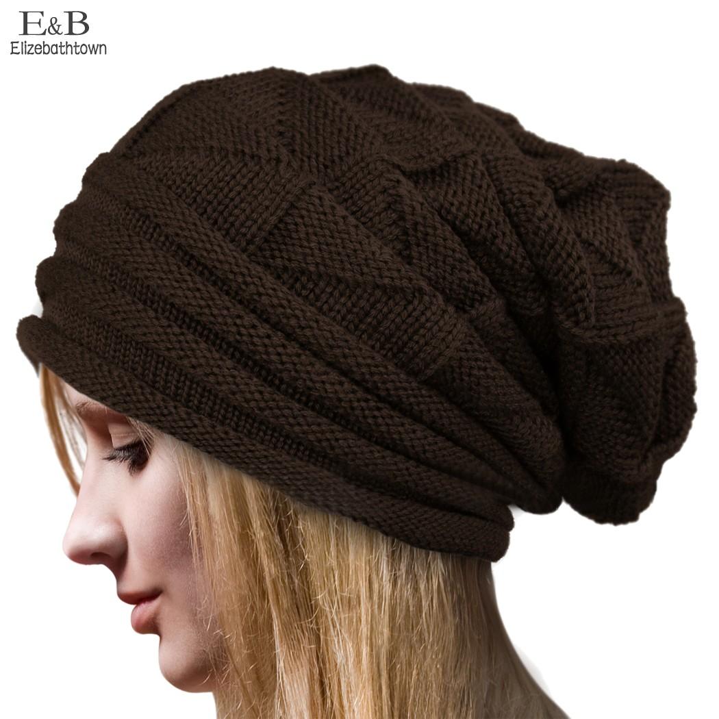 European Style Elegant Women Hat Winter Fall Beanies Knit Crochet Hats For Woman Ladies Female Fashion Oversized Slouch Cap 63b(China (Mainland))