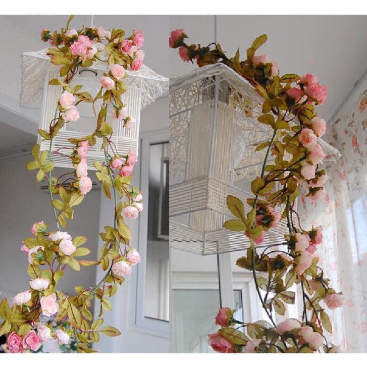 Wedding Decoration Artificial Fake Silk Rose Flower Vine Hanging Garland Wedding Home Decor For Xmas Decorative Flowers & Wreath(China (Mainland))
