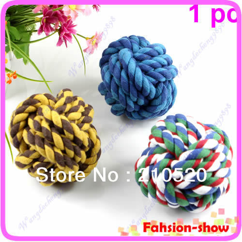 1PC Pet Dog Cat Cotton Big Size Rope Ball Toys Chew Rope Teeth Clean Chase Throw Train Play Ball(China (Mainland))