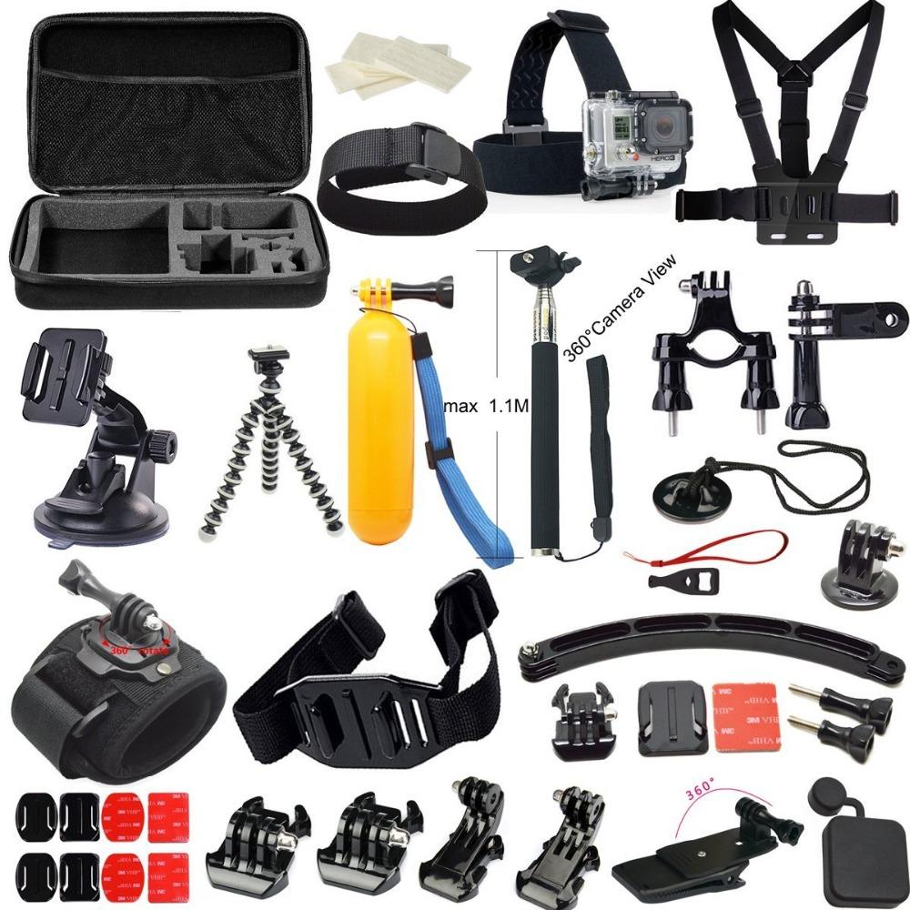 2016 Hot sell Gopro accessories Set  case tripod 360 rotation wrist mount helmet arm Gopro hero3 Hero4 Gopro accessories kit<br><br>Aliexpress