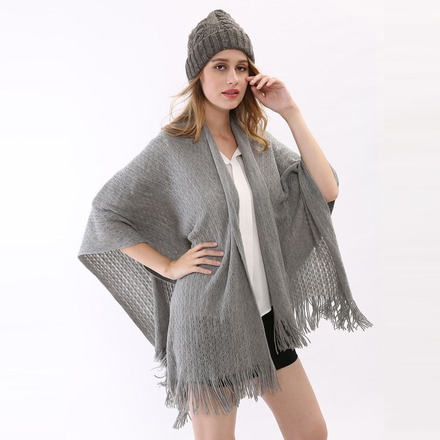 Fashion Women's Casual Warm Solid Tassel Cape Sweater Hedging Shoulder Protection Knitted Wrap Cashmere Poncho Women Shawl Cape(China (Mainland))