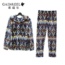 Song Riel lovely cozy couple long sleeved flannel pajamas home service men and women casual outer