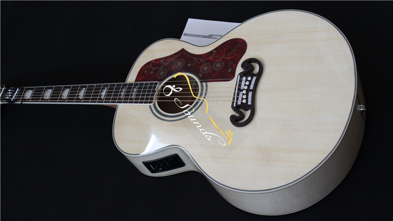 free shipping new arrival hot sale J200 guitar SJ200 jumbo acoustic guitar natural color with eq installed <br><br>Aliexpress