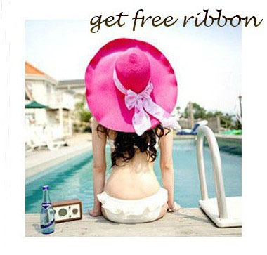 Hot sell new arrival 2014 fashion Summer lady Beach Hat straw hat shading big folding sun hat for women with DIY ribbon(China (Mainland))