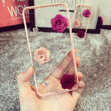 Buy Fashion 3D DIY Camellia Flower Bling Diamond Rhinestone Crystal Clear Transparent phone cases iphone 5 5S 6 6 plus case for $5.42 in AliExpress store