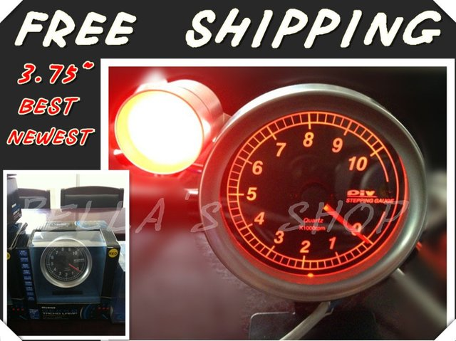 """free shipping brand new piv0t 3.75"""" RED LED rpm /tachometer  racing gauge  with shift light original box"""