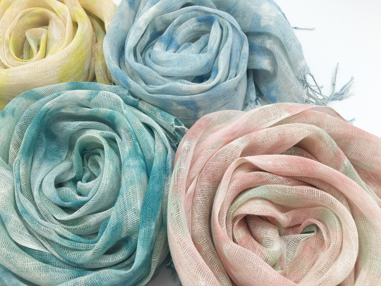 Long Tassels 100%Linen Women Winter Scarves 180x55cm Big Size Shawls Luxury Brand Warm Echarpe Sunscreen Beach Towel Hijab S7