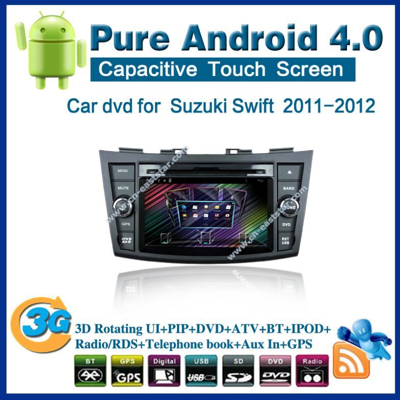 Pure Android 4.0 Car DVD for Suzuki Swift with radio GPS PC Bluetooth car kit TV USB 1G CPU Wifi 3G audio Free shipping 2385(China (Mainland))