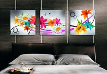 Modern indoor room wall decoration art bright flowers pictures on the bedroom sets canvas printing art(China (Mainland))