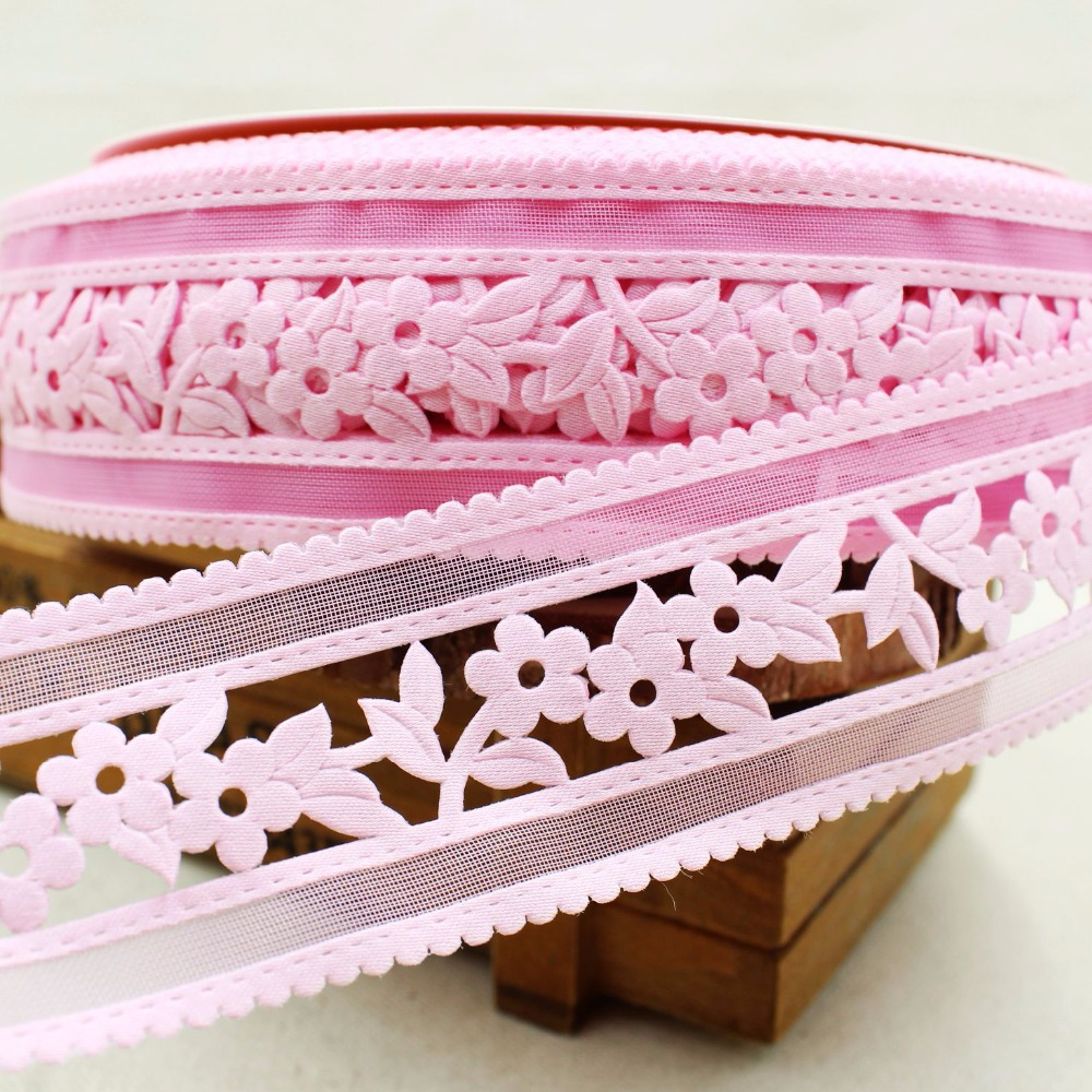 Free shipping (45mm)pink flowers Hollow out letter ribbon Polyester Cartoon Ribbon DIY haribow garment accessory,lk114(China (Mainland))