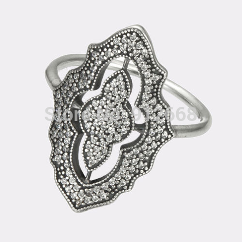 925 Sterling Silver Ring Fashion Jewelry Authentic European Cubic Zirconia Sparkling Lace Ring(China (Mainland))