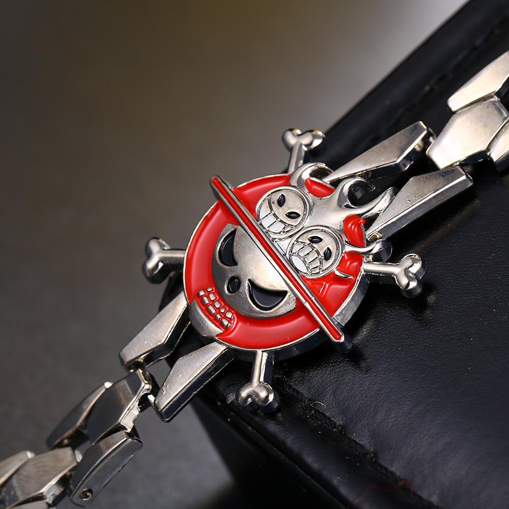 Anime One Piece Portgas D Ace Cross Skull Logo Bracelet & Bangle High Quality Jewelry Wholesale & Retail No.SL009(China (Mainland))