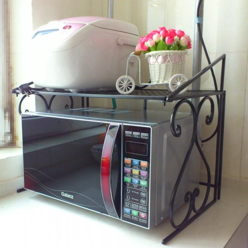 Iron kitchen racks / microwave oven rack / multifunction wood storage rack storage shelves shipping(China (Mainland))