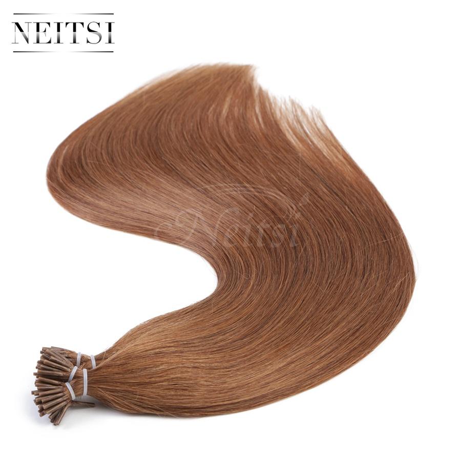 "Neitsi I Tip Stick Tip Keratin Human Hair Extensions Indian Virgin Remy Hairpieces Straight 20"" 30# Medium Auburn 1g/s 50g 100g(China (Mainland))"