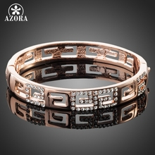AZORA Brand Design Rose Gold Color G Style Rhinestones Paved Bangle Bracelet TB0015(China (Mainland))
