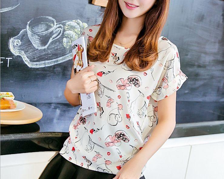 Мода бренда женщин шифон блузки плюс свежий женщин красочные рубашки шифон batwing свободные блузки Повседневные топы q002