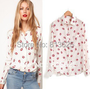 Free Shipping flower printed women shirt Red lip Print Blouse Long Sleeve Shirt Top S M L(China (Mainland))