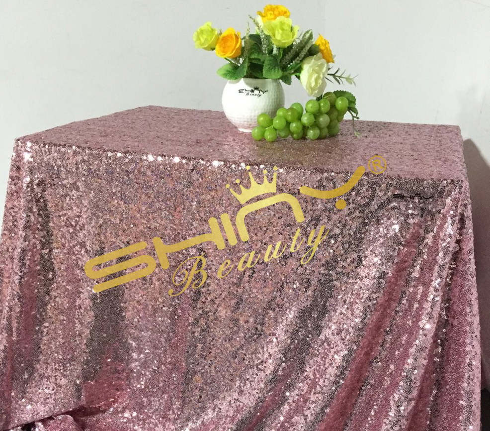 On Sale 50''x50'' Pink Gold Sequin Table Clot Wholesale Table Linens Sparkly Pink Gold Table Sequin Linens For Your Events Decor(China (Mainland))