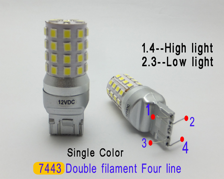 T20 led drl 7443 Dual color Function Car Light Source Daytime running lights Steering function DRL Yellow 7440 bulb Canbus