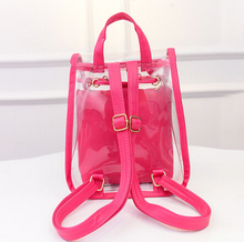 Free shipping 2015 new Summer Candy colored women bag transparent small double backpack Lovely Ladies small