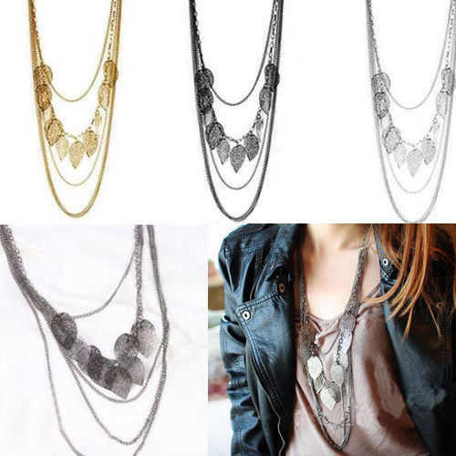 Bohemia Leaf Multilayer Necklace Pendant Womens Long Sweater Charms Chain - Makedream store