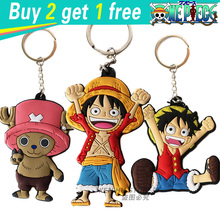 Buy 2 get 1 free One piece anime cartoon Keychains action & toy figures pendant Key Chains Collection model toy(China (Mainland))