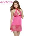 Avidlove Women Babydoll Dress Sexy Lingerie Set Sexy Halter Lace Strap Chemise Sleepwear Sheer Underwear G