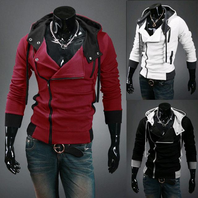 Бесплатная доставка 2015 Осенние и Зимние Мужчин Бренд Моды Случайные Тонкий Кардиган Assassin Creed Толстовки Толстовка Верхняя Одежда Куртки