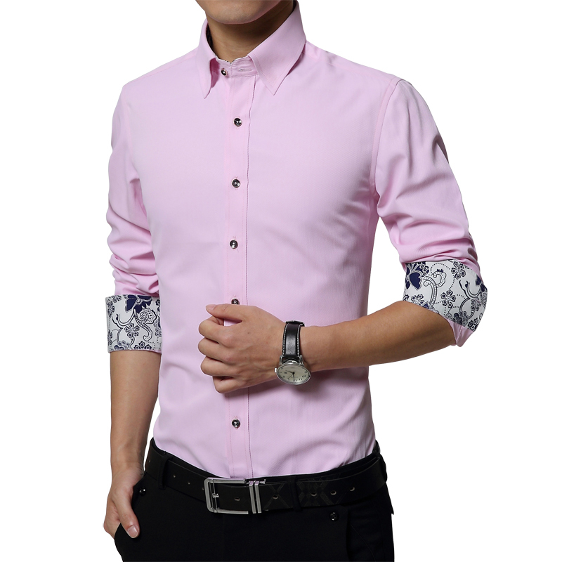 Men striped shirt 2015 flower cuff business mens dress for Men s classic dress shirts