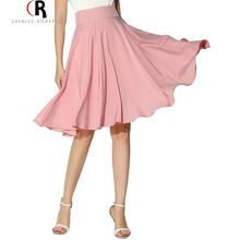 Midi Skirt 2016 Summer Women Clothing High Waist Pleated A Line Skater Vintage Casual Knee Length Saia Petticoat(China (Mainland))