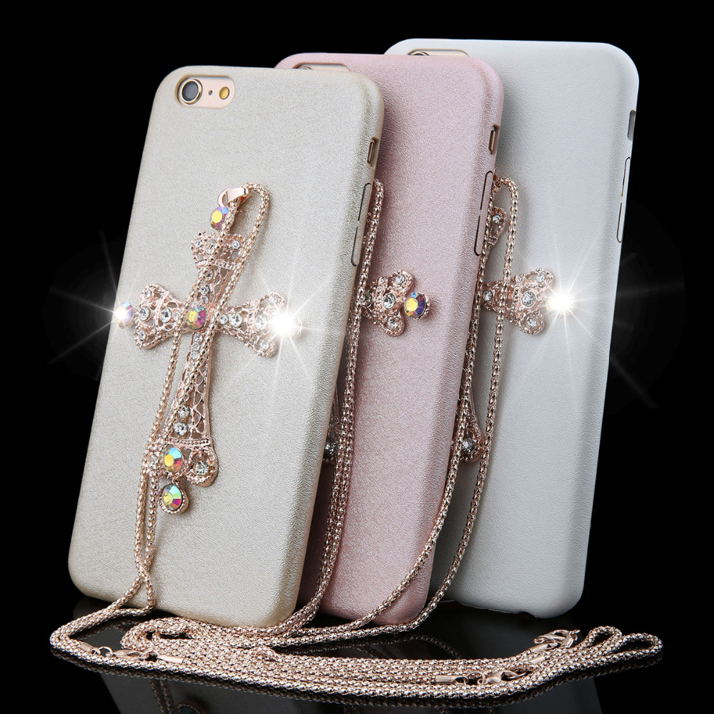 """Cross Case !!! Luxury 6 / 6s Case 4.7"""" Bling Shining Glitter Diamond Cross With diamond Chain Case For iphone 6 6s Plus 5.5""""(China (Mainland))"""