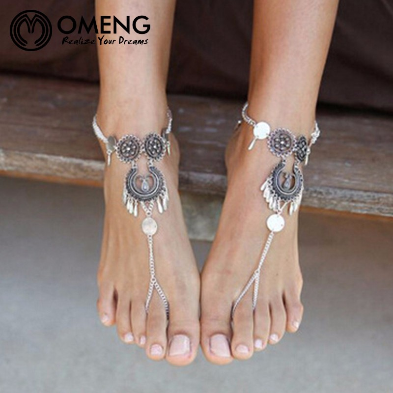 OMENG Vintage Bohemian Sandals Anklet Antique silver plated anklets Bracelet  Tassel Water Drop Barefoot Anklets for Women JL077