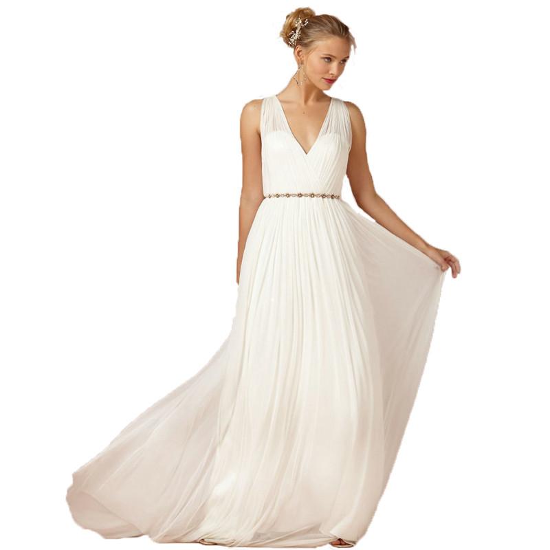 Dress bride ivory white chiffon open back 2016 greek style for Greek themed wedding dress