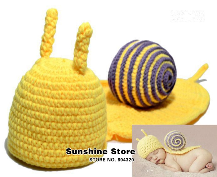 Baby kids knitted animal hats crochet knit gorro bebe photograph;handmade Crochet snail photograph Animal cap #3C2618 retail(China (Mainland))