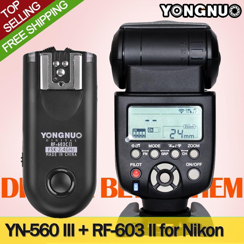 YONGNUO Flash Speedlight YN-560 III with RF-603 II Transmitter for Nikon DSLR Cameras ,YN560-III<br><br>Aliexpress