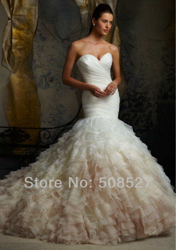 Robe De Mariee Sirene 2016 Custom Made White Ivory Organza Vintage Pleat Ruffles Mermaid Wedding