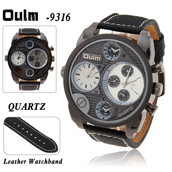 Hot Sale Brand Oulm Multi-Function Dual Movt Quartz Wrist Watch with White Dial Leather Watchband for Male - Black Free Shipping<br><br>Aliexpress