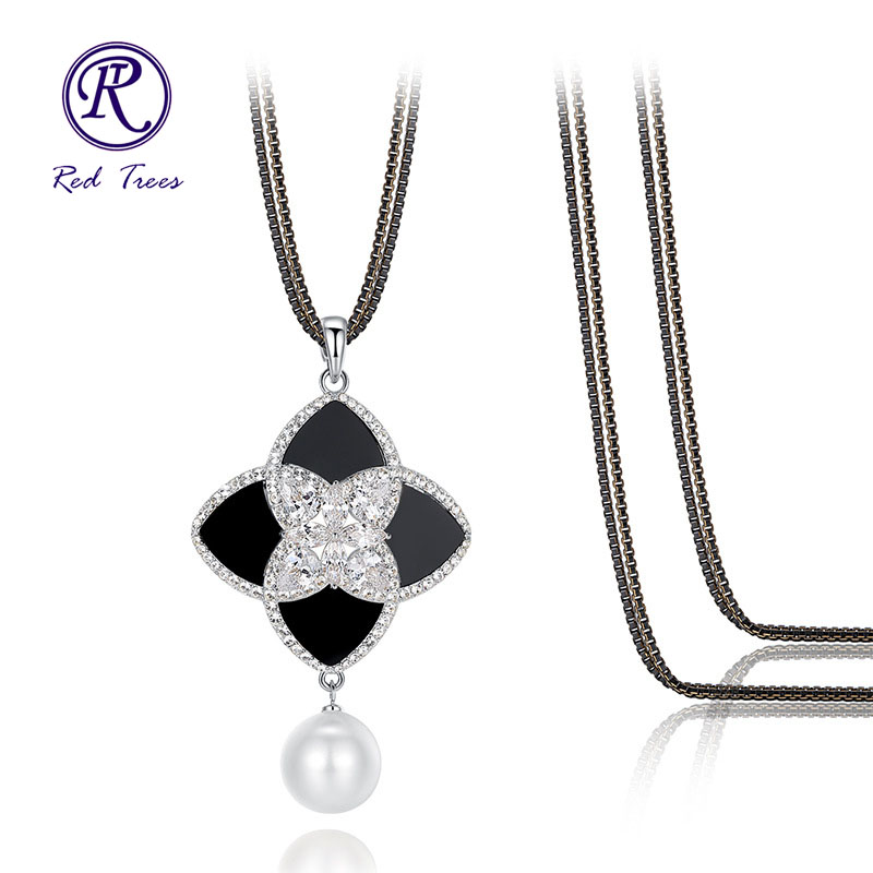 Red Trees Jewelry 2015 New Arrival Fashion Long Necklace Women Made With Luxury AAAA Zircon and Mother of Pearl Flower Pendants(China (Mainland))