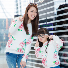 2015 new floral hoodies matching mother daughter clothes family look clothing girls women sweatshirt mommy and me clothes