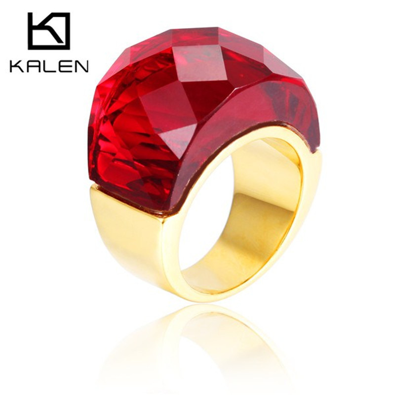 Gorgeous jewelry stainless steel italian 18k gold plated rings fake ruby rings designs for engagement wedding party(China (Mainland))