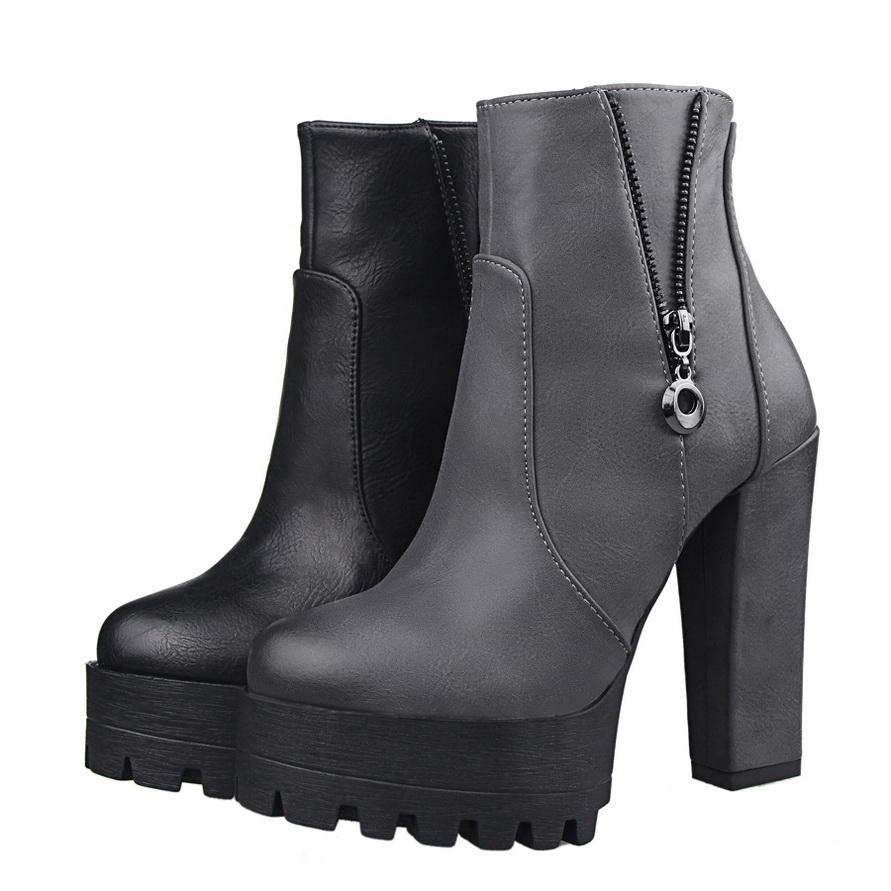 High Heel Boots Women's Shoes Winter Ankle Boots High Heels Block Thick Shoes Women High Waterproof Platform Boots