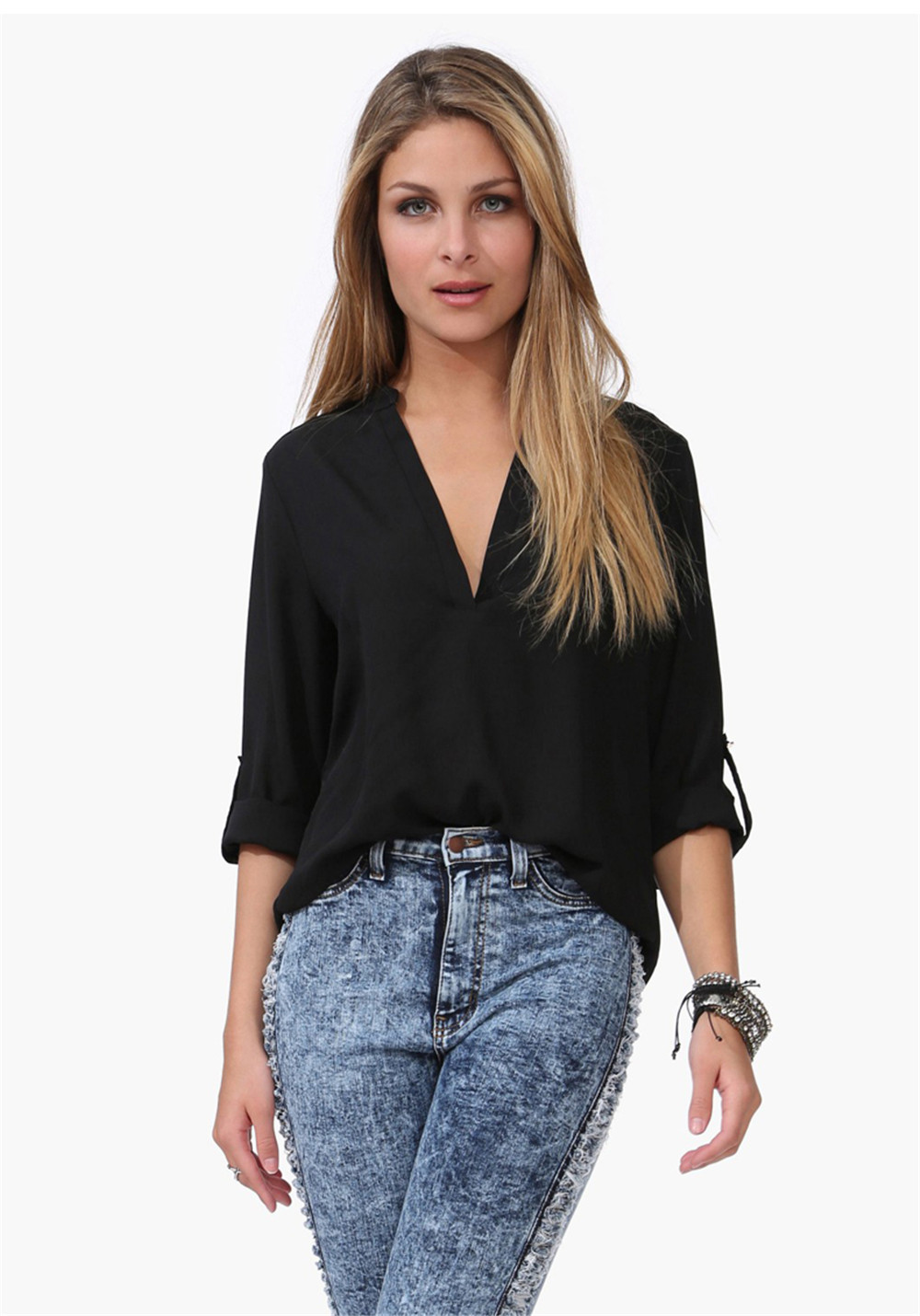 New 2015 Summer Women Blouse Shirt Fashion Chiffon Tops
