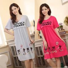 Pregnant Large Bear Lactation Nursing Clothes Maternity Dress Letters Print Summer Cotton Sleepwear mujeres dormir