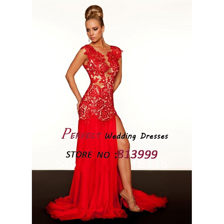Aliexpress.com Comprar 2016 Sexy sirena Vestidos De Fiesta rojo De cuello alto gasa raja del lado De noche Vestidos Backless MacDuggal desnudo vestido del