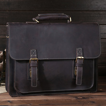 New Crazy Horse Genuine Leather Men Classic Briefcase Handbag Shoulder Bussiness Zipper Laptop Notebook OL Bags(China (Mainland))