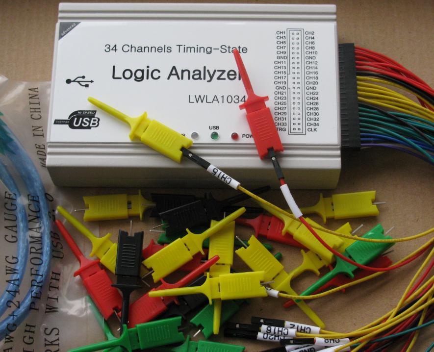 New arrival LWLA1034 Powerful 100MHz 34 channels logic analyzer,Timing-State Logic Analyzer,English Software<br>