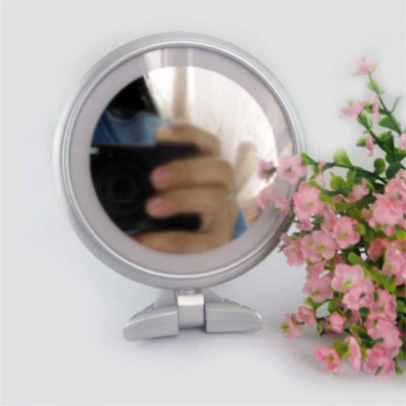 vanity double sided lighted handheld makeup mirror salon desktop cosmetic mirror with 8pcs. Black Bedroom Furniture Sets. Home Design Ideas