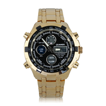 2016 Luxury Brand Quamer Fashion Men's Watch Stainless Steel LED Display Mens Business Casual Waterproof Wristwatch Sport Watch