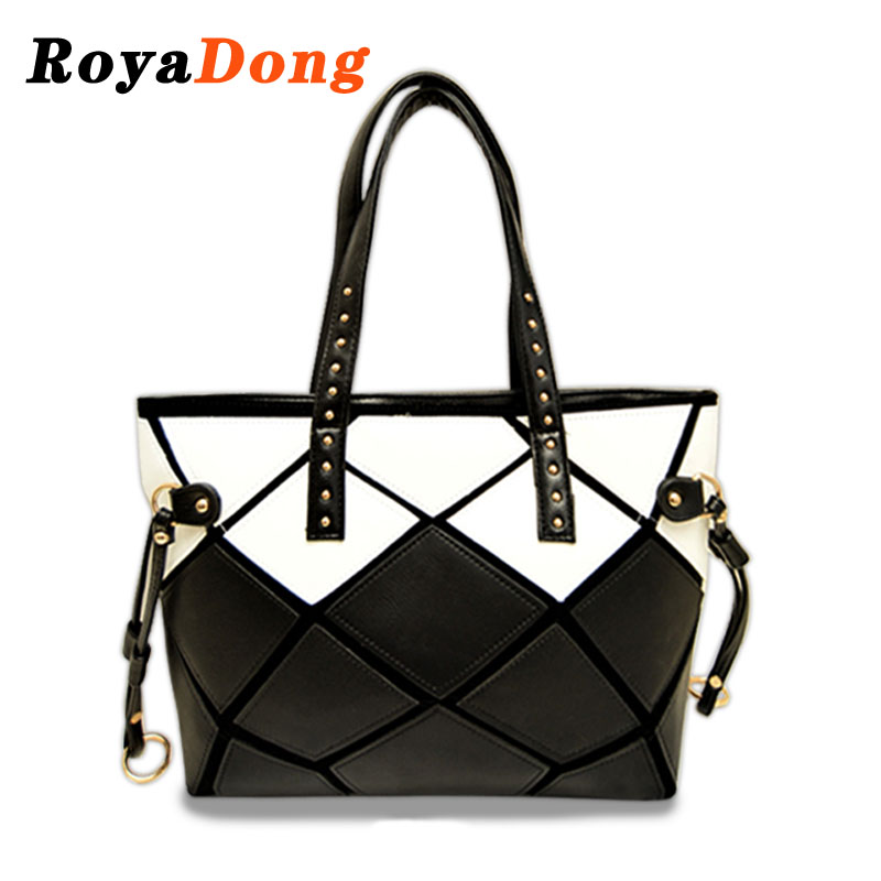 RoyaDong Women Leather Handbags Patchwork Tote Bags Handbags Women Famous Brands Designer Handbag High Quality Fashion For Party<br><br>Aliexpress